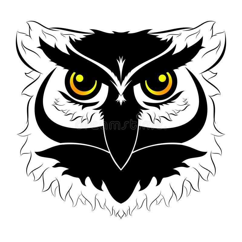 Black and white symmetric owl head. With yellow eyes on white background royalty free illustration