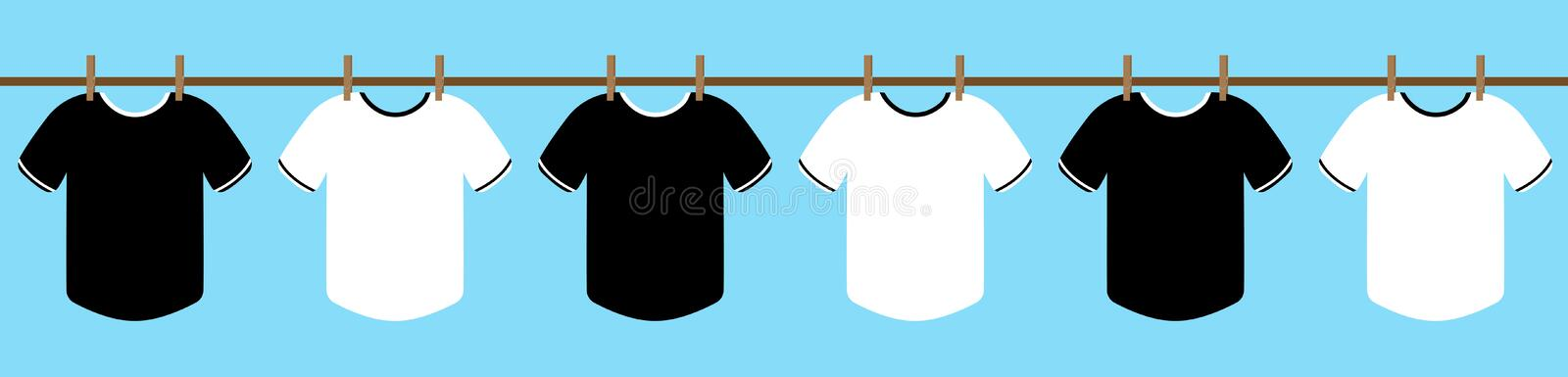 Black and white T-Shirt hang on the rope with Cloth clamp. dry clothes in the sun with the blue sky. illustration. vector. vector illustration