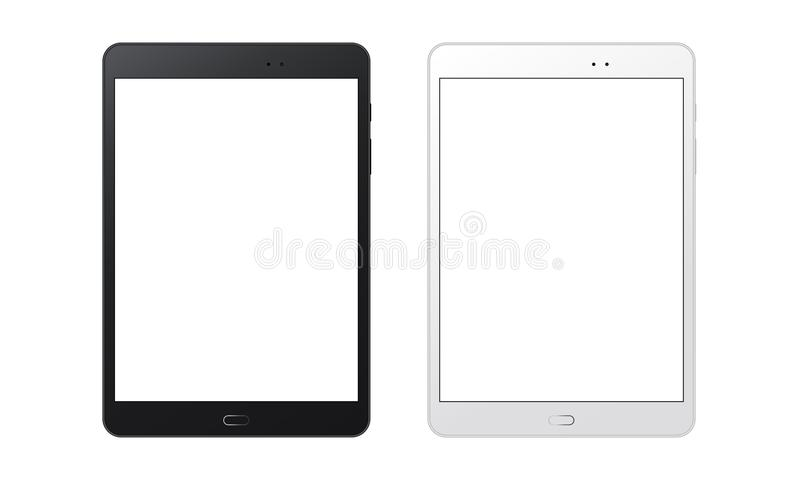 Black and white tablet computers mockups with blank screens. Responsive screens to display your mobile web site design. Vector illustration stock illustration