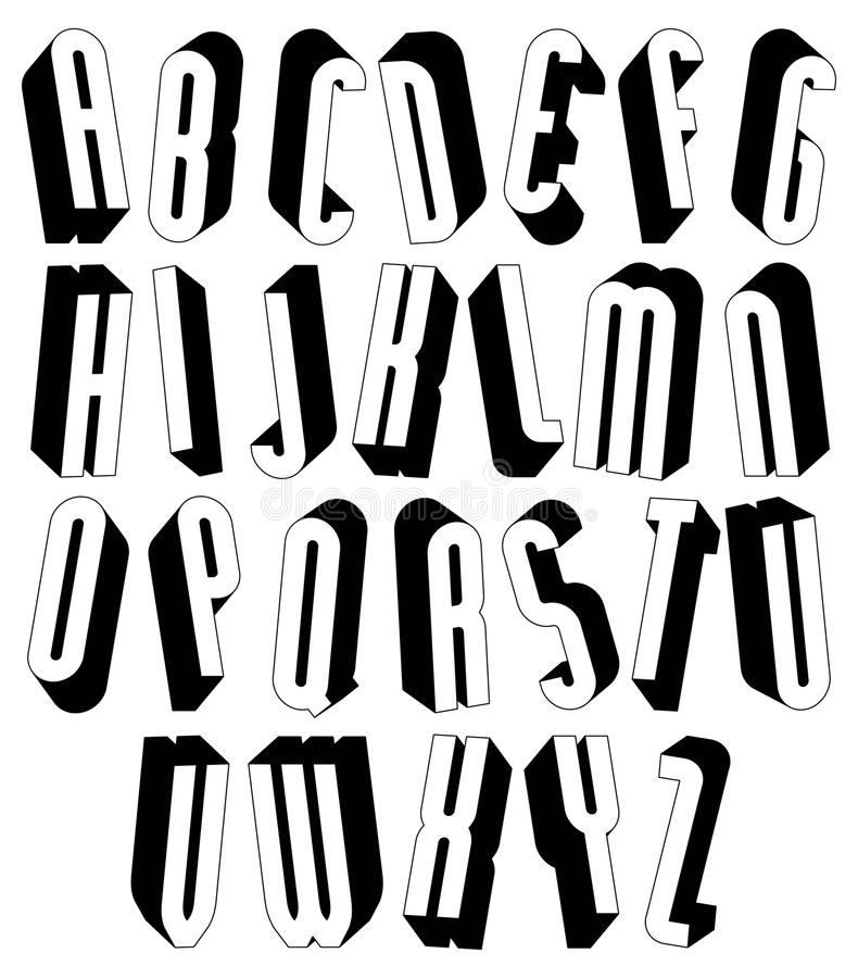 Black and white tall 3d font made with round shapes. stock illustration