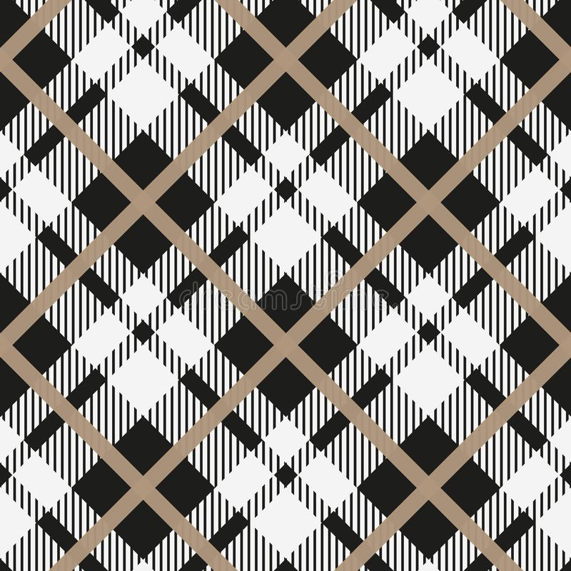 Black and white tartan diagonal seamless vector pattern Checkered plaid texture Geometrical simple square background for fabric, t. Extile, cloth, clothing vector illustration