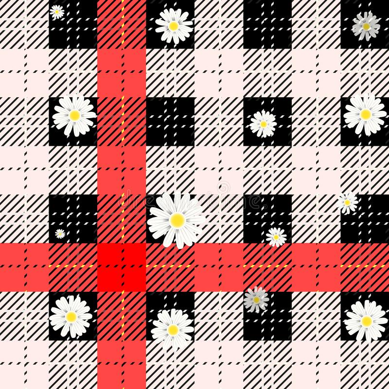 Black and white tartan plaid and daisy flowers pattern on checkered background for textile. Eps10 royalty free illustration