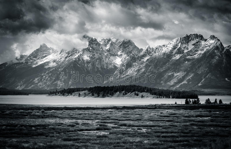 Black and White Tetons royalty free stock photos