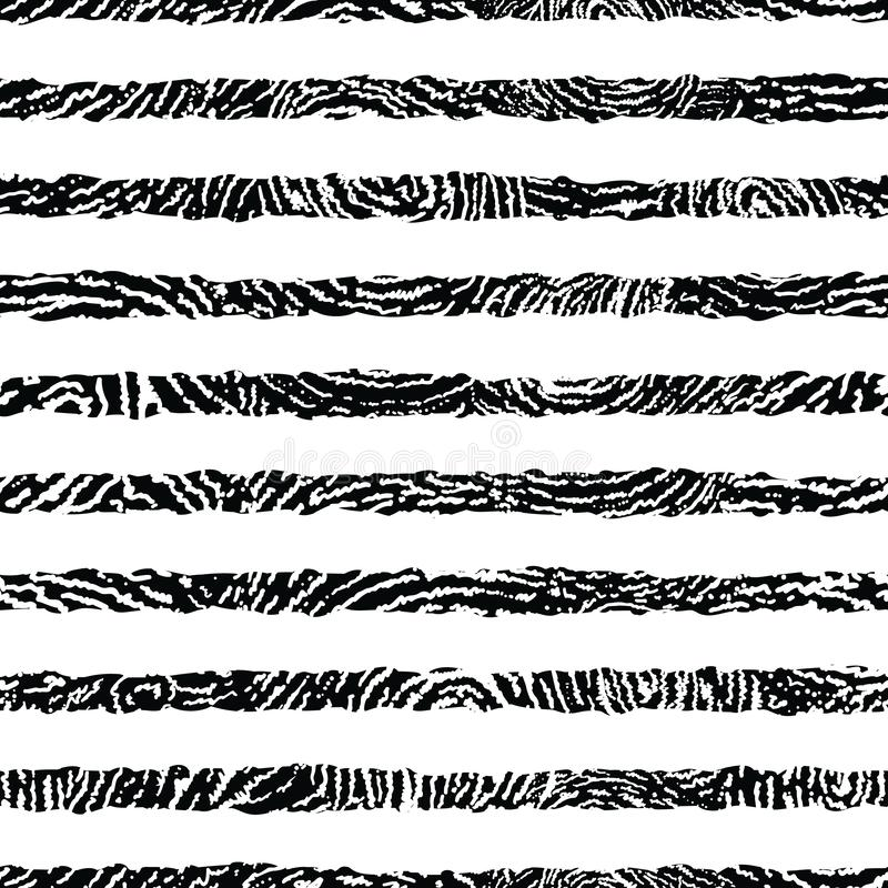 Black and white textured stripes seamless pattern vector illustration