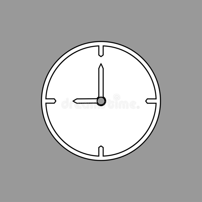 Black and white thin line clock icon 9 o`clock on grey background - vector illustration royalty free illustration
