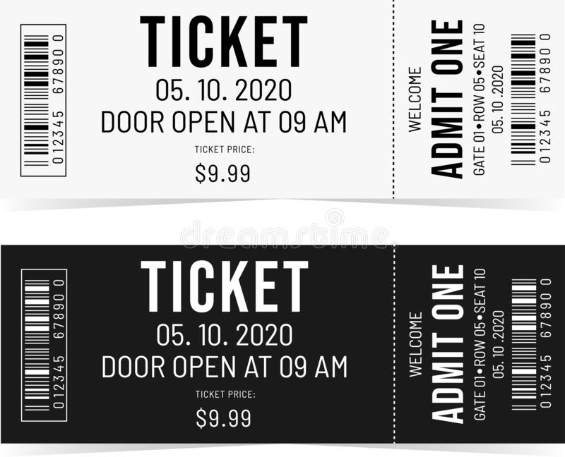 Black and White tickets. Vector black and white tickets with text. Admit one. Event invitation vector illustration