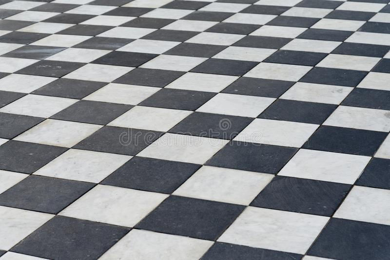 Black and white tiles. Chess floor. royalty free stock photos