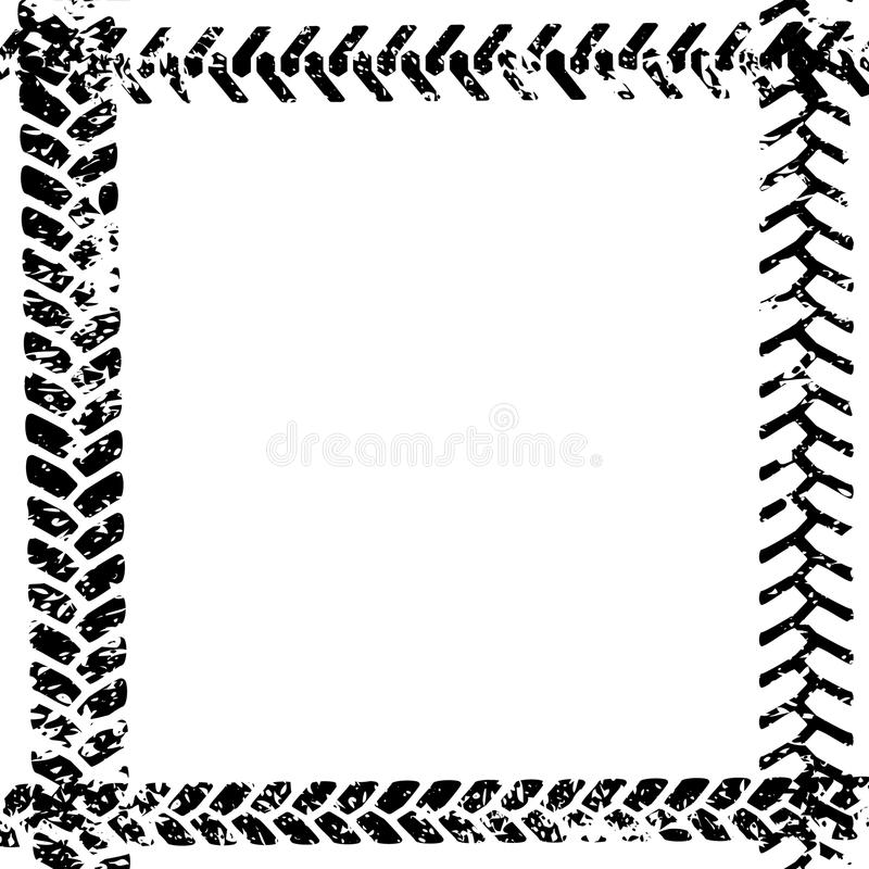 Black and white tire tread protector track on white grunge frame design, vector royalty free illustration
