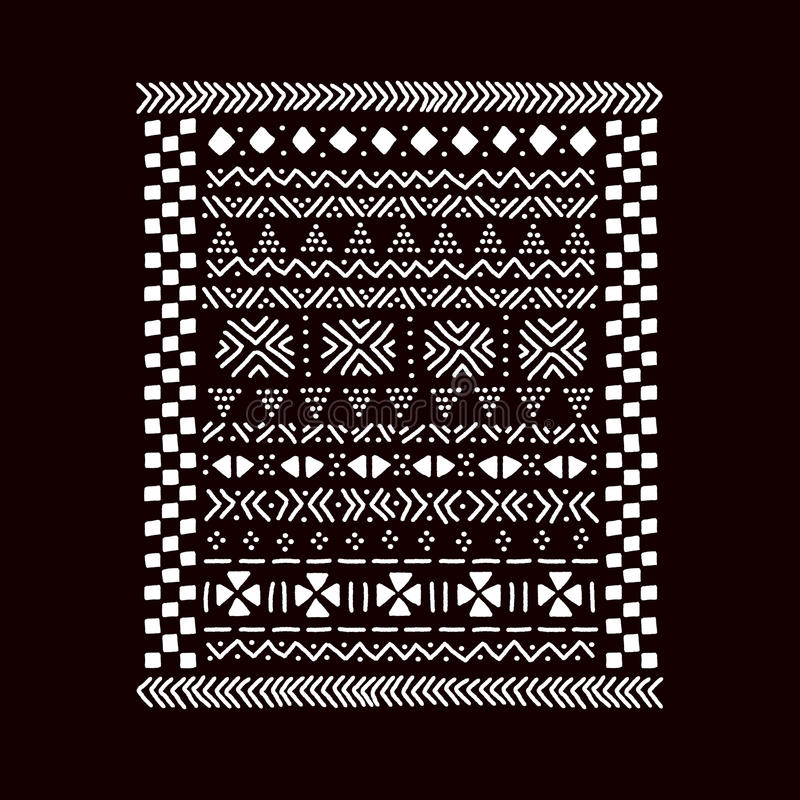 Black and white traditional african mudcloth fabric print, vector stock illustration
