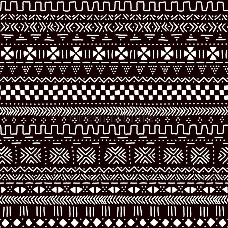 Black and white traditional african mudcloth fabric seamless pattern, vector royalty free illustration