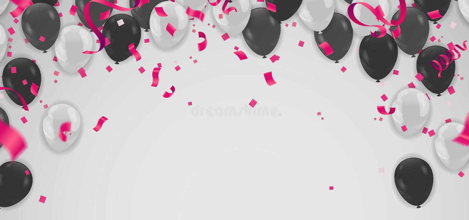 Black and white transparent helium balloons on white background. royalty free illustration