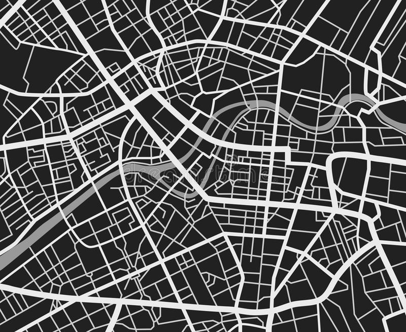 Black and white travel city map. Urban transport roads vector cartography background stock illustration