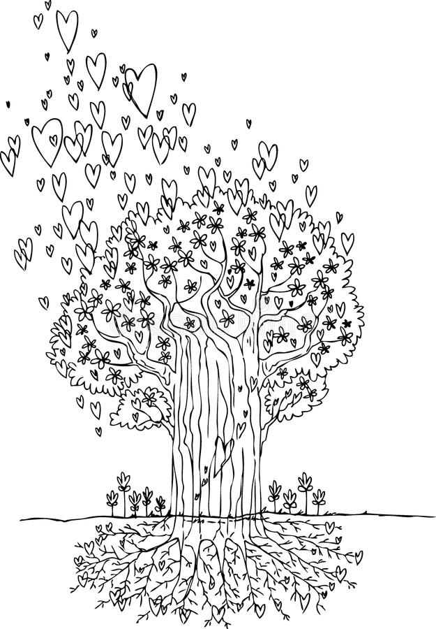 Coloring tree of love vector stock images