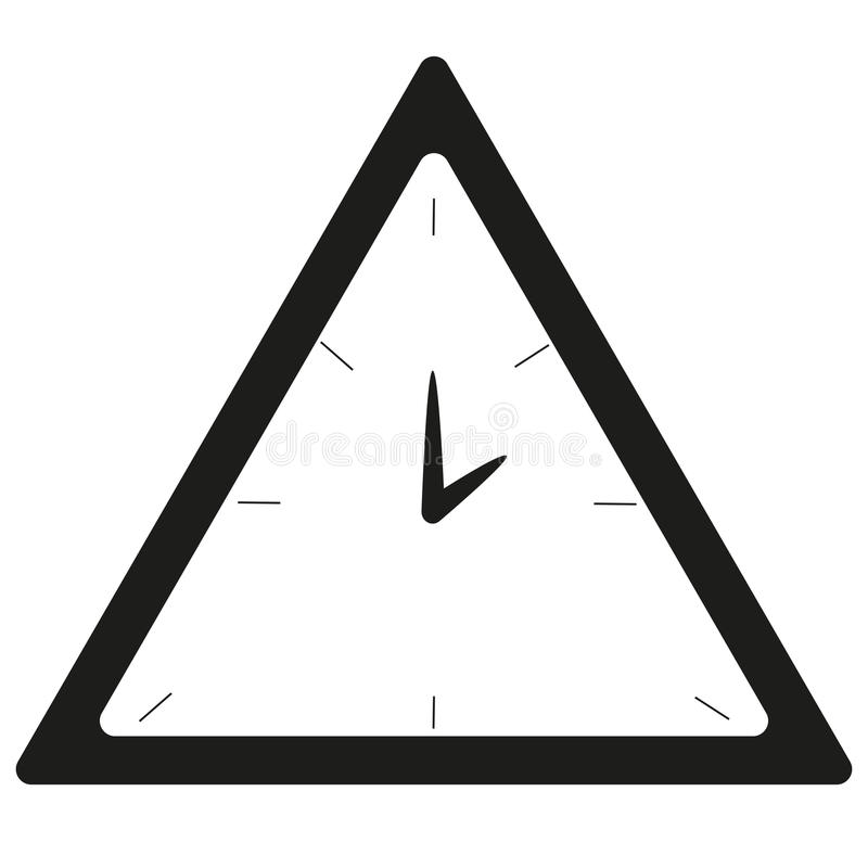 Black and white triangle clock royalty free stock photo