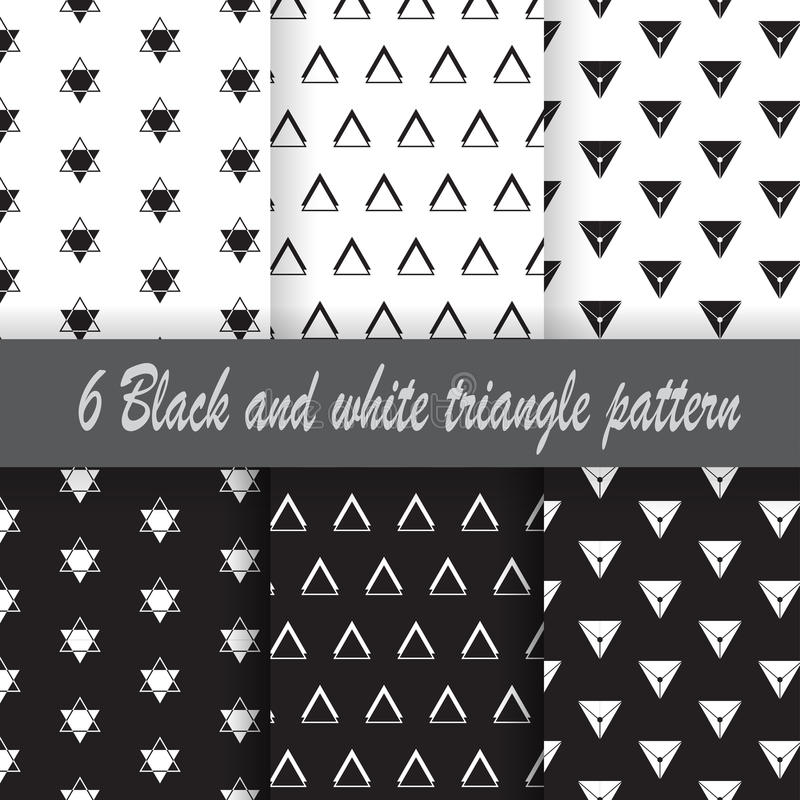 6 Black and white Triangle pattern stock images
