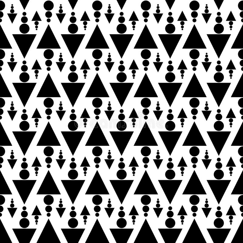 Black and White Triangles and Dots Seamless Texture stock illustration