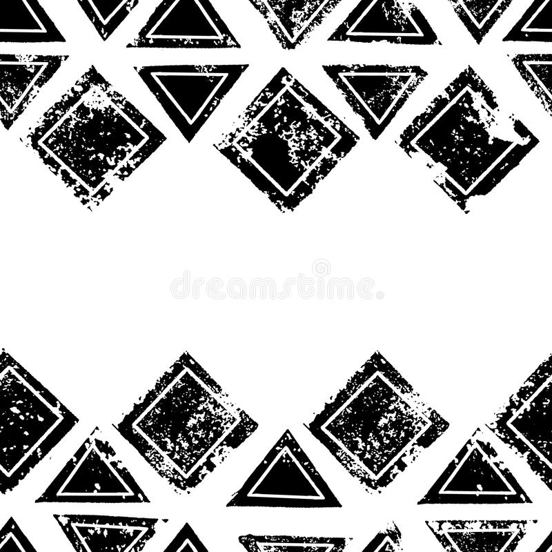 Black and white triangles and squares aged geometric ethnic grunge seamless border, vector stock illustration