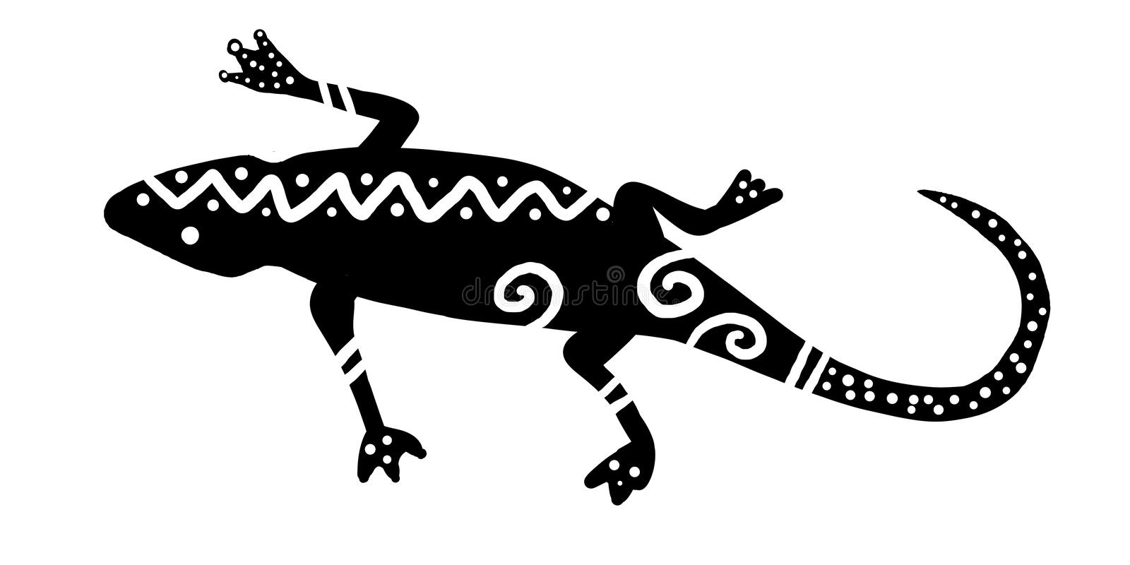 Black and white tribal lizard design with bold modern stripes, dots and wavy lines, tropical gecko or salamander stock illustration