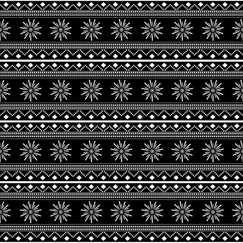 Black and white tribal seamless pattern vector illustration with stripes drawing mandala stars batik motif stock illustration