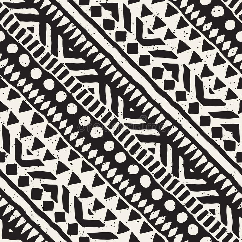 Black and white tribal vector seamless pattern with doodle elements. Aztec abstract art print. Ethnic ornamental hand royalty free illustration