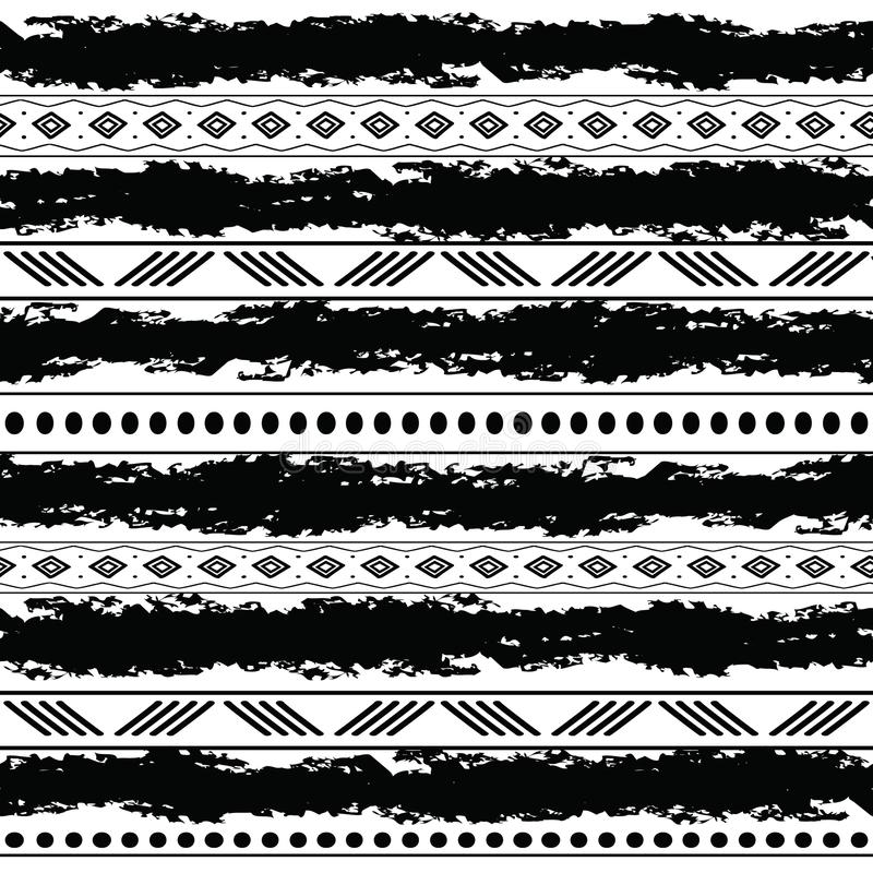 Black and white tribal vector seamless pattern with doodle elements. Aztec abstract geometric art print. Ethnic vector illustration