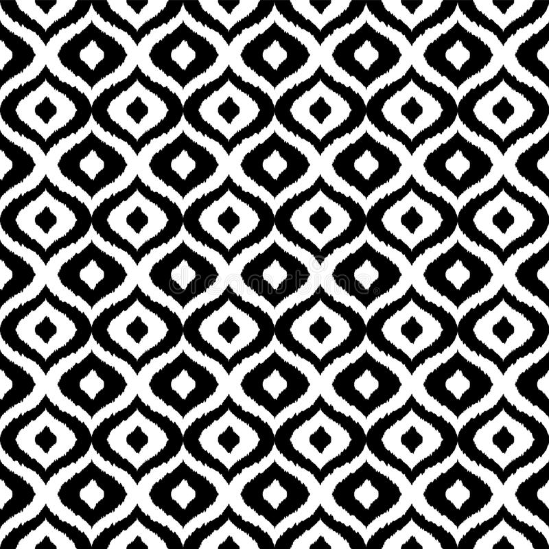 Black and white tribal vector seamless pattern. Hand drawn abstract background. Classic textile design, animalistic vector illustration