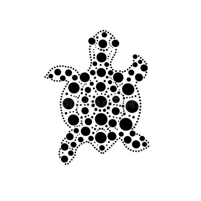 Black and white turtle aboriginal australian style dot painting illustration, vector. Illustration royalty free illustration
