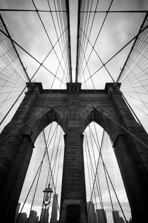 Black and white upward view of Brooklyn Bridge royalty free stock image