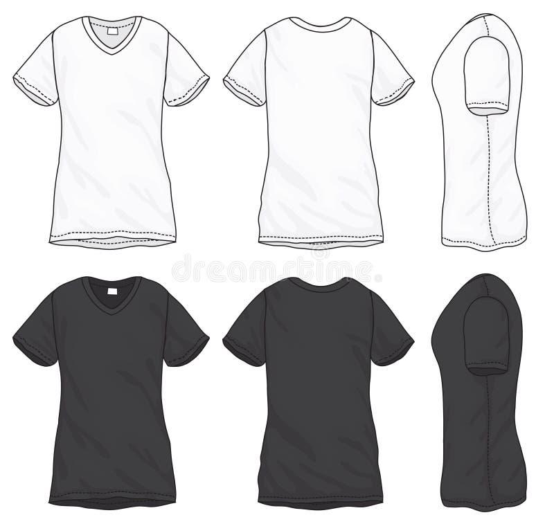 Black White V-Neck T-Shirt Design Template Stock Vector ...