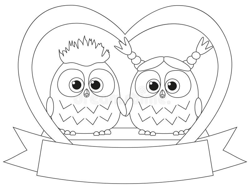 Black and white valentine day poster with an owl couple. stock illustration