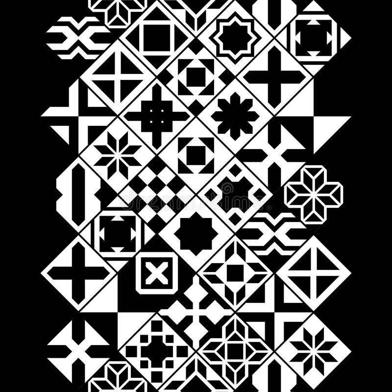 Black and white various moroccan tiles seamless border, vector stock illustration