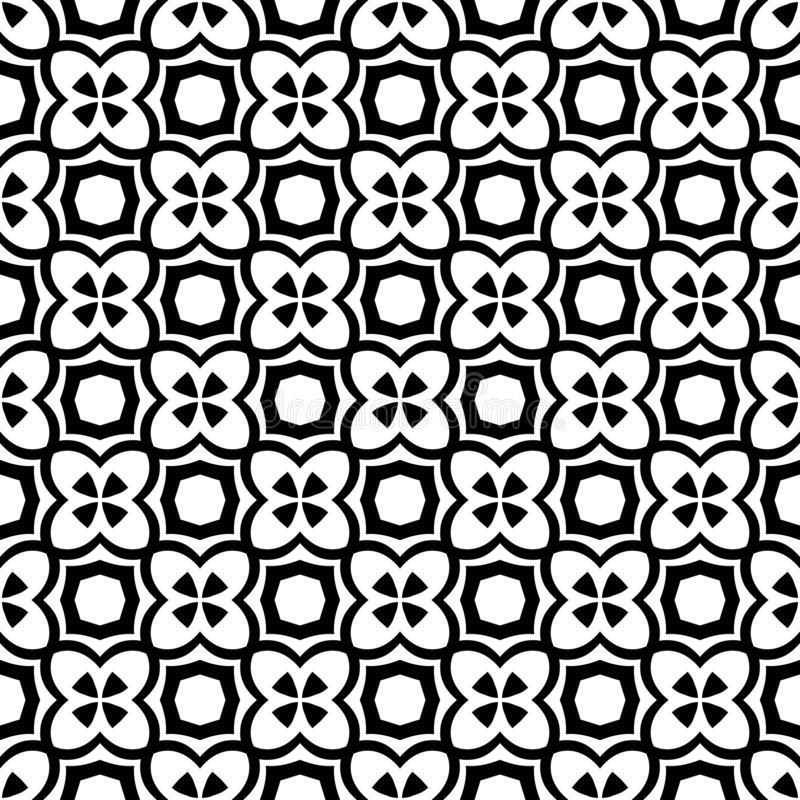 Black and white vector abstract seamless pattern with grid, diamond shapes, stars, rhombuses, lattice, repeat tiles vector illustration