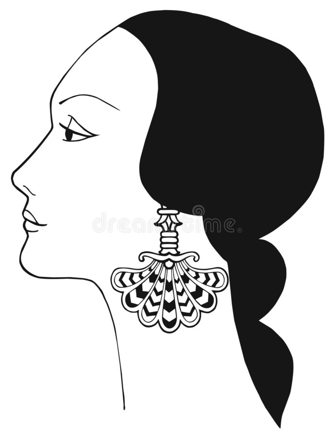 Download Black And White Vector Art Nouveau Lady Royalty Free Stock Images - Image: 3677149