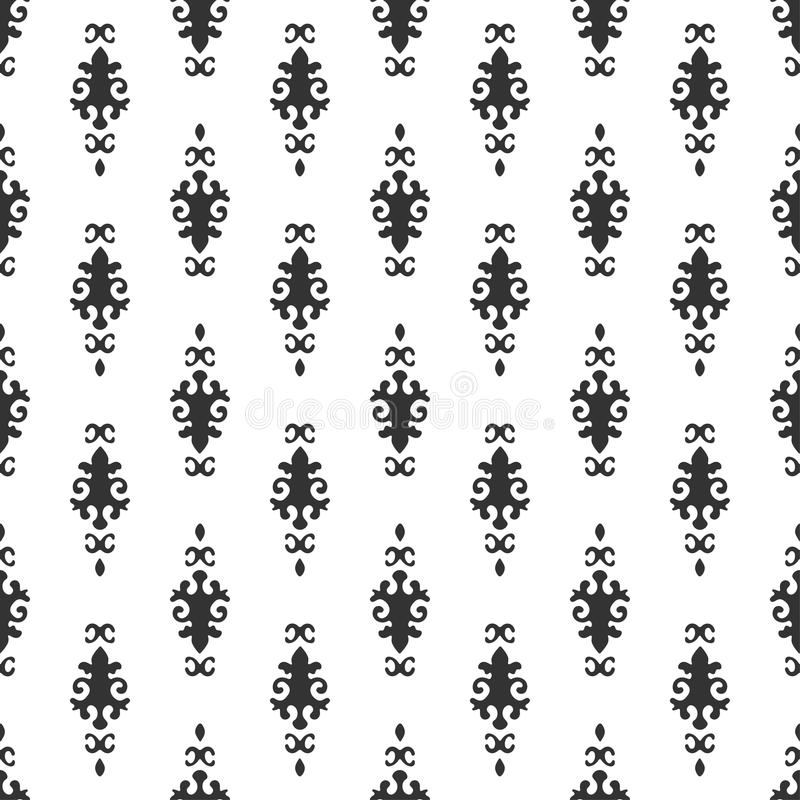Black and white vector background. Beautiful queen seamless pattern with fleur de lys ornament elements. Royal signs in style of f stock illustration