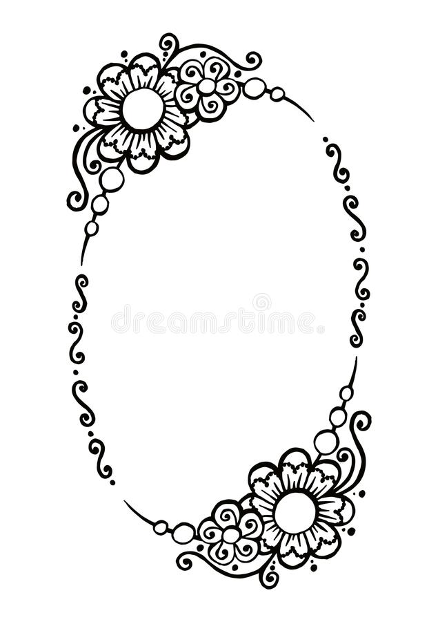 Black and white vector decorative oval frame royalty free illustration