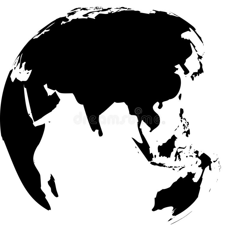 Black and white vector Earth globes. Isolated on white vector illustration