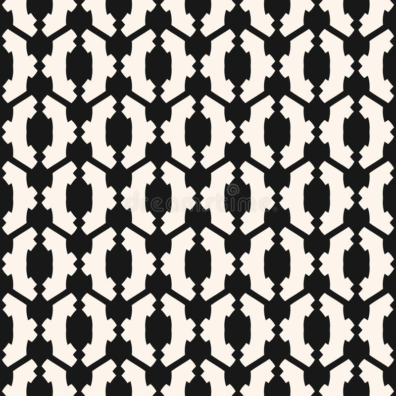 Black and white vector geometric seamless pattern in traditional ethnic style stock illustration
