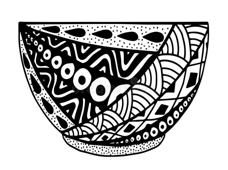 Black and white vector hand drawn bowl, doodle style illustration with ornament. Black and white Decorative round ornaments. Unusual flower shape. Oriental vector illustration