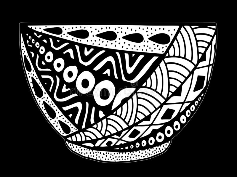 Black and white vector hand drawn bowl, doodle style illustration with ornament vector illustration