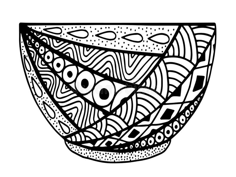 Black and white vector hand drawn bowl, doodle style illustration royalty free illustration