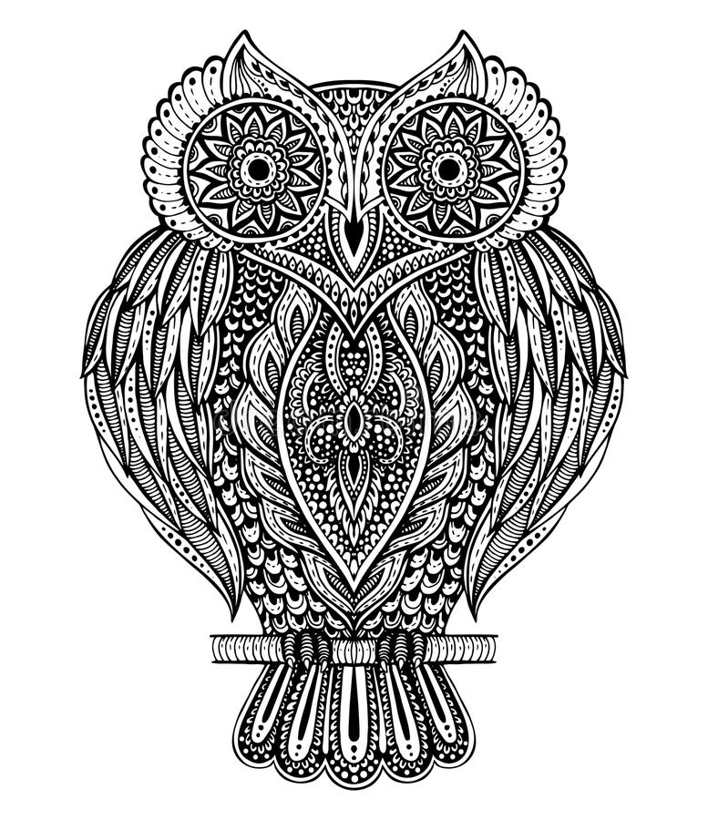 unique coloring pages owl ornate - photo#15