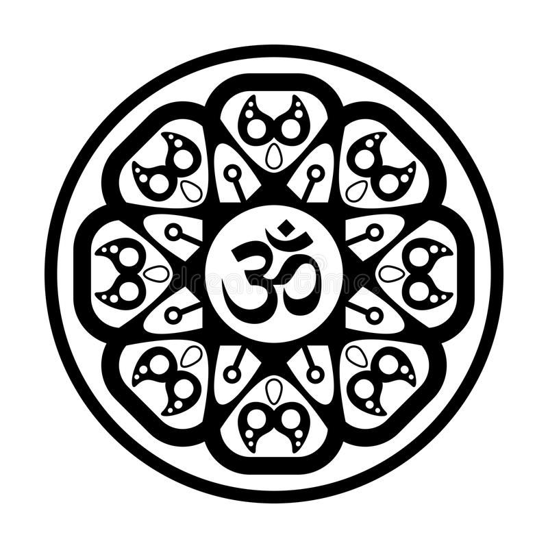 Black and white vector henna tatoo mandala. OM decorative symbol. Mehndi style royalty free illustration