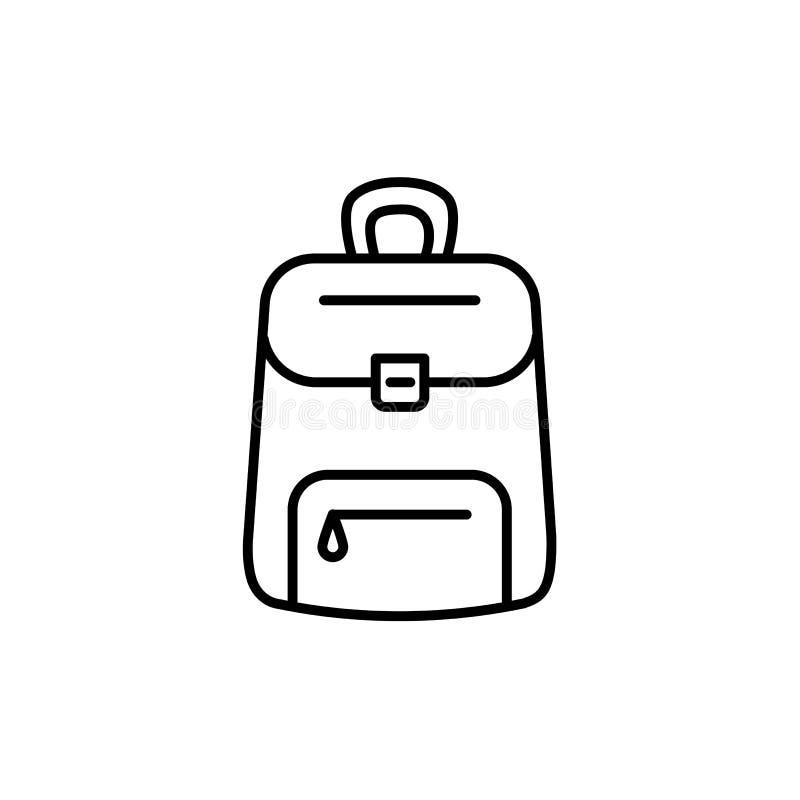 Black & white vector illustration of backpack or rucksack. Line royalty free illustration