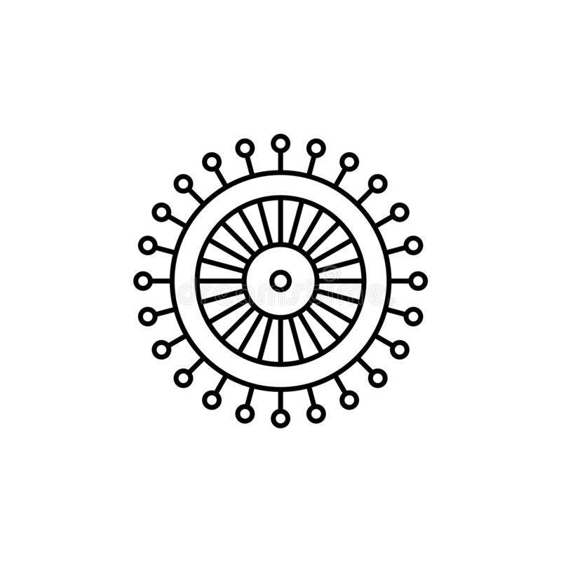 Black & white vector illustration of ball point pins set. Line i royalty free illustration