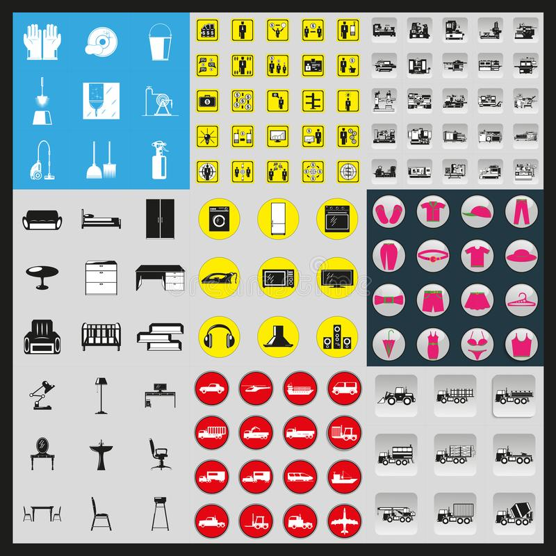Mega set of vector icons of different subjects. Black-white vector illustration on a black background stock illustration