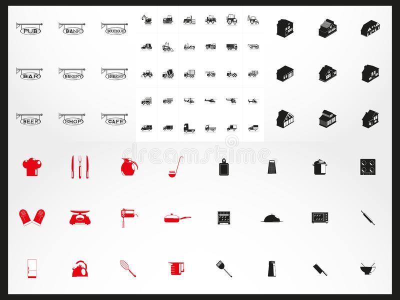 Mega set of vector icons of different subjects. Black-white vector illustration on a black background vector illustration