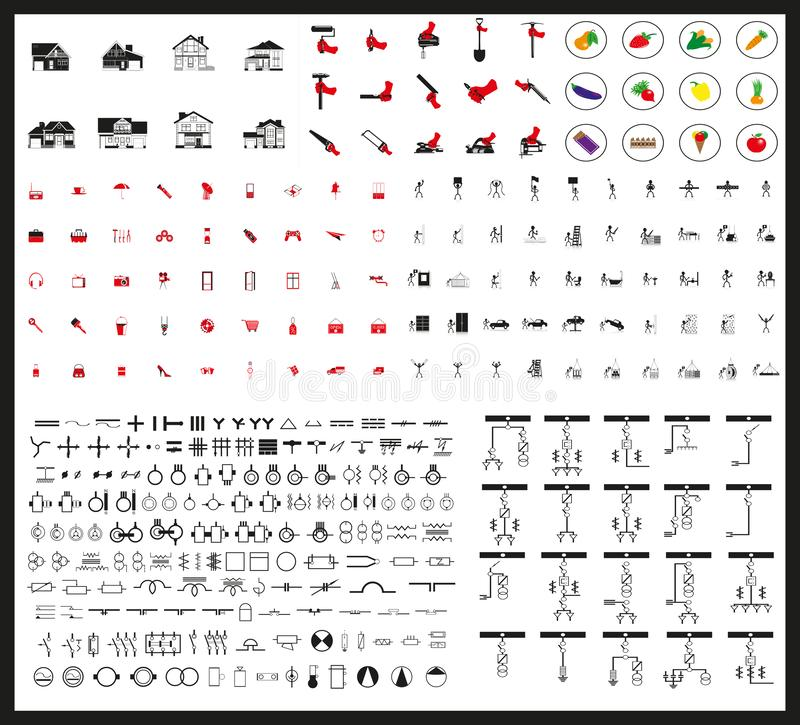Mega set of vector icons of different subjects. Black-white vector illustration on a black background royalty free illustration