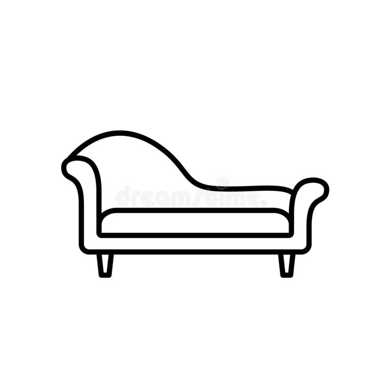 Black & white vector illustration of chaise lounge sofa. Line icon of settee. Modern home & office furniture. Isolated on white b. Black & white vector royalty free illustration