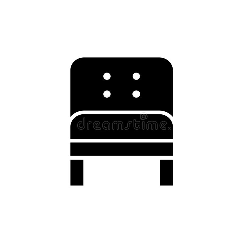 Black & white vector illustration of comfortable leather armchair. Flat icon of arm chair seat. Upholstery furniture for home & o. Ffice. Isolated object on stock illustration