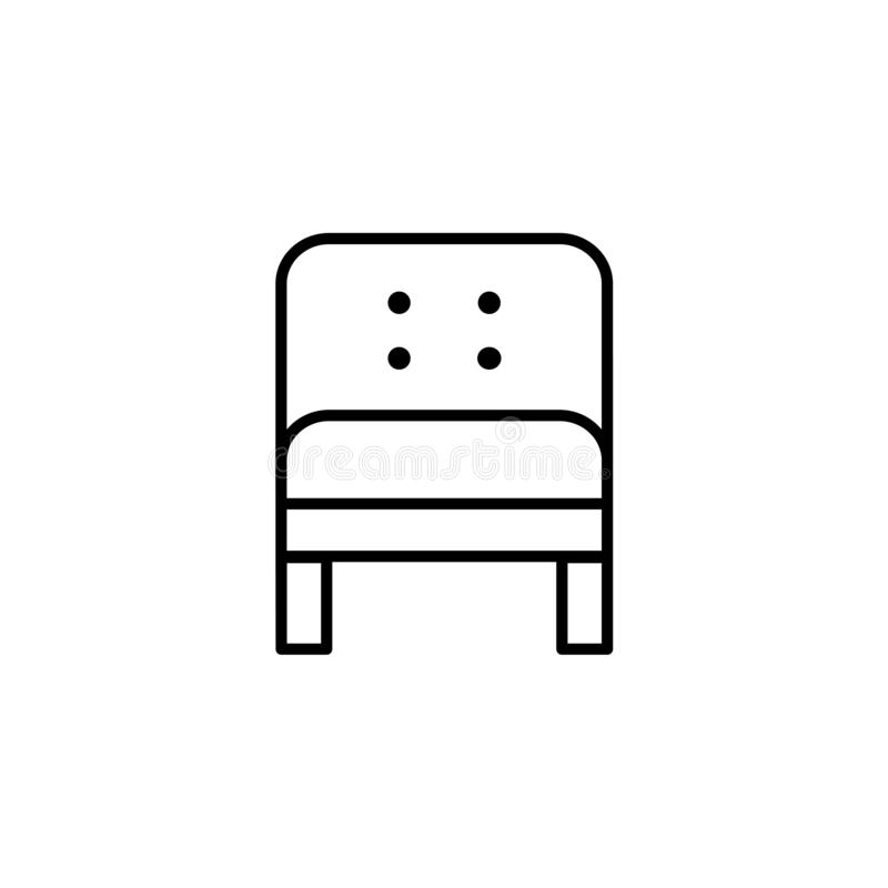 Black & white vector illustration of comfortable leather armchair. Line icon of arm chair seat. Upholstery furniture for home & o. Ffice. Isolated object on stock illustration